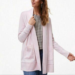 Loft pink velour pocket long open cardigan medium